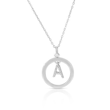 925 Sterling Silver White Clear CZ Circle Letter Initial Pendant Necklace, 18