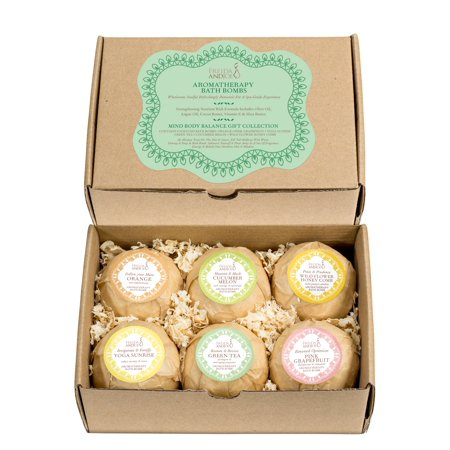 Holiday Spa - Bath Bomb Gift Set of 6 Essential Oil Premium Holiday Bath Fizzies. Bubble & Spa Skin Hydration & Wellness for Women, Mom, Girls, Teens, Her, Mind and Body Balance Aromatherapy Fragrances.