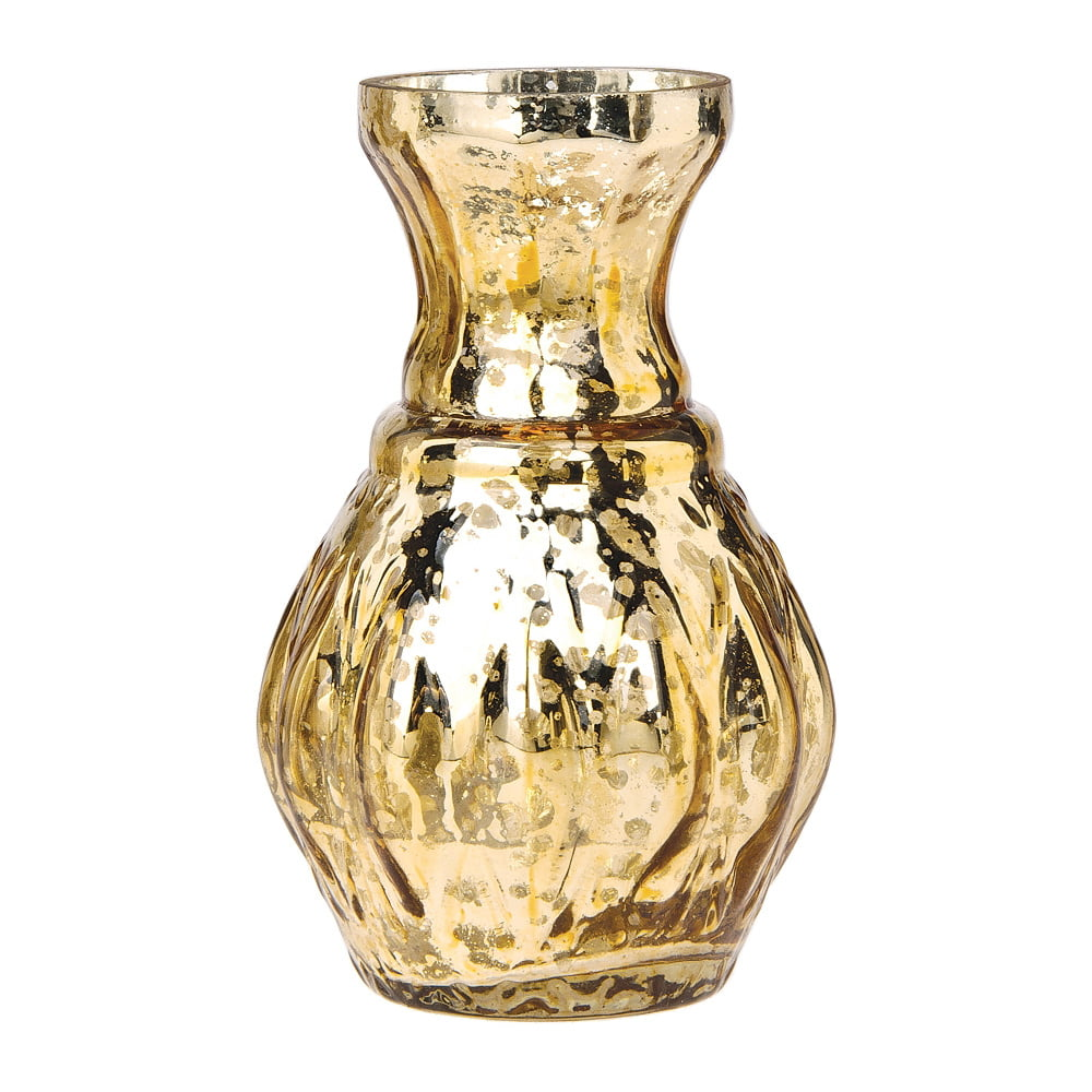 225 & Vintage Mercury Glass Vase (4-Inch Bernadette Mini Ribbed Design Gold) - Decorative Flower Vase - For Home Decor Party Decorations and Wedding ...