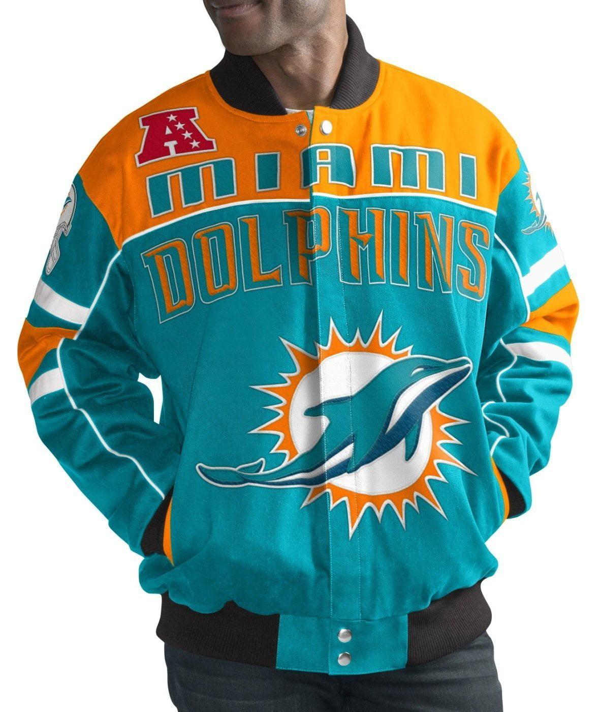 """Miami Dolphins Men's """"Blitz"""" Premium Cotton Twill Jacket by G-III Sports"""