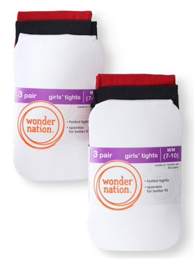 Wonder Nation Opaque Tights, 6 Pack Stockings (Little Girls & Big Girls)