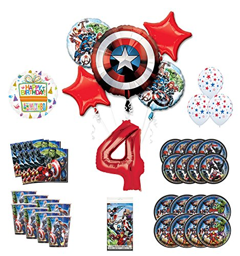 Mayflower Products Avengers 4th Birthday Party Supplies and 8 Guest Balloon Decoration Kit