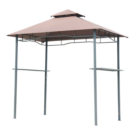 - 8' Outdoor Double-Tier BBQ Grill Canopy Barbecue Tent Shelter Patio Deck Cover