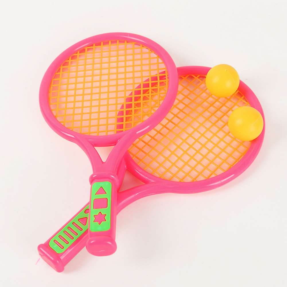 Redcolourful Children Plastic Beach Tennis Toys 2 Pack Tennis Racquets  Battledores with Tennis and Badminton Set Random... by