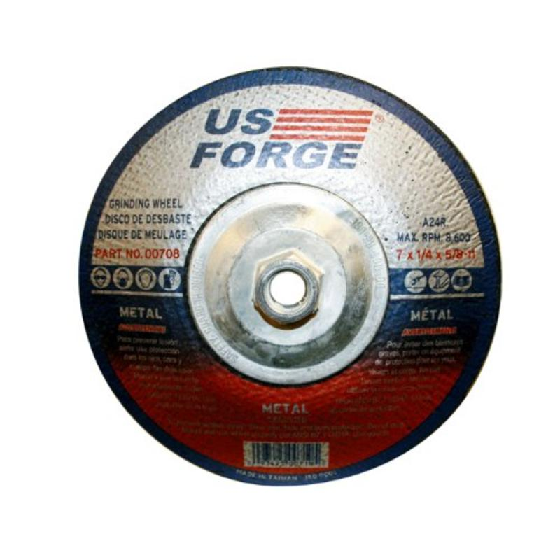 "Type #27 Grinding Wheel Abr Thr/Hub, 7"" By 1/4"" By 5/8""-11 US Forge 708"