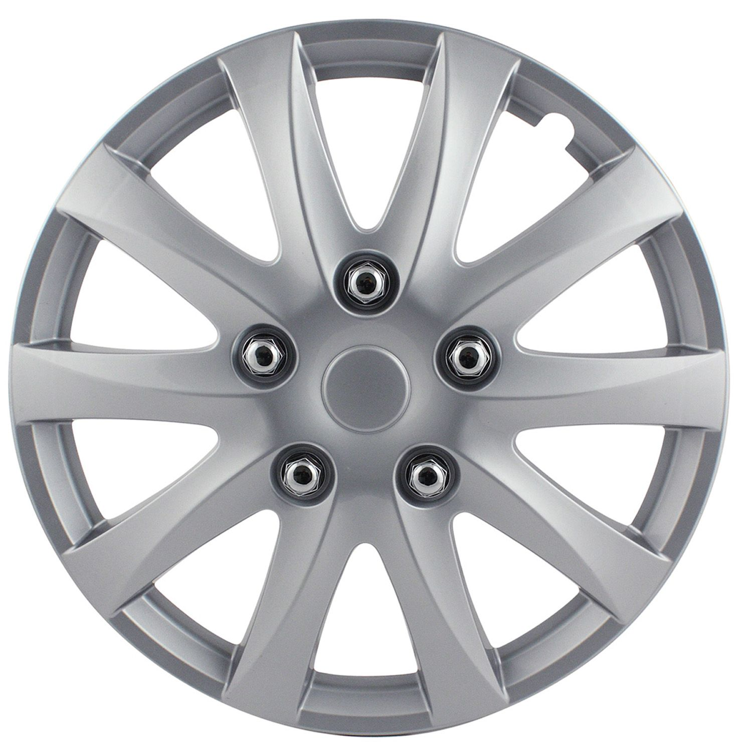"Pilot/Bully WH526-15S-BX Wheel Cover 15"" 10 Spokes Silver ABS Plastic Set Of 4"