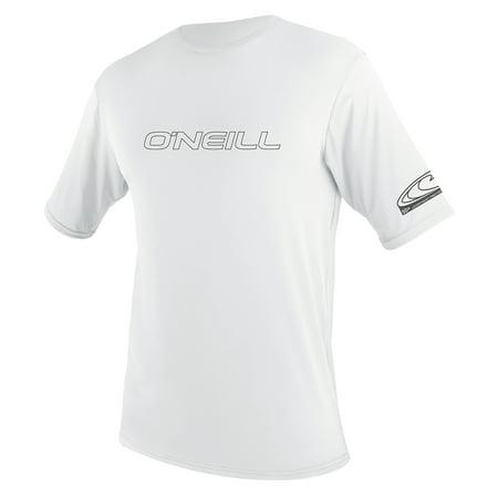 O'NEILL MEN'S BASIC SKINS 50+ SHORT SLEEVE SUN SHIRT, White, Size (Black Short Sleeve Wetsuit)