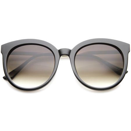 sunglassLA - Modern Metal Temple Tinted Lens Oversize Round Horn Rimmed Sunglasses - (Amber Tinted Sunglasses)