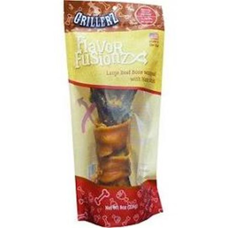 Scott Pet Products TT98763 8 oz Bag Grillerz Flavor Fusionz Beef Bone with Ham Skin Dog Treat - Large