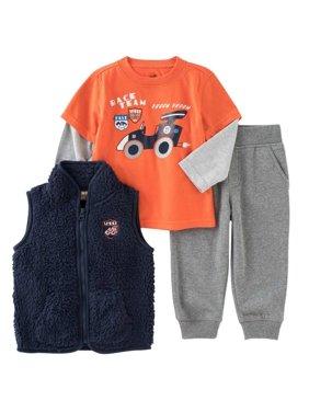Kids Headquarters Infant Boys 3 Piece Orange Race Car Shirt Pants & Vest
