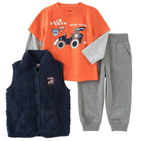 Kids Headquarters Infant Boys 3 Piece Orange Race Car Shirt Pants & Vest