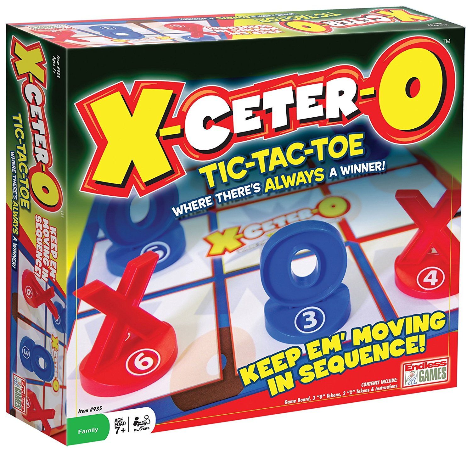 X-Ceter-O Game, Each player has three pieces, each numbered 1, 2 and 3. By Endless Games Ship from US by