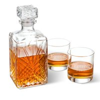 Personalized Bormioli Rocco Selecta Square Decanter with Stopper and 2 Low Ball Glass Set