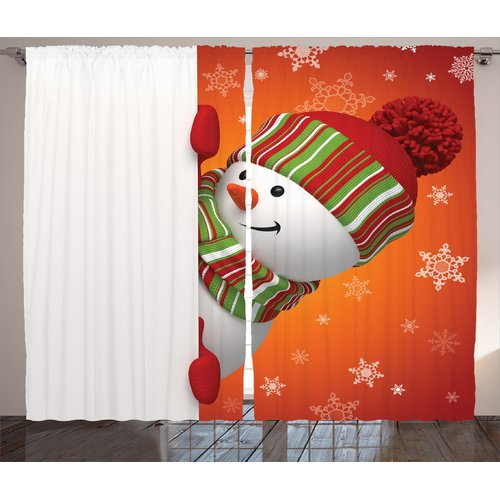 The Holiday Aisle Christmas Decorations Cute Snowman with Mittens and Hat and Scarf New Year Festive Graphic Print & Text Semi-Sheer Rod Pocket Curtain Panels (Set of 2)