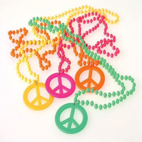 Retro Beads with Peace Sign Pendant Necklaces Case Pack 14