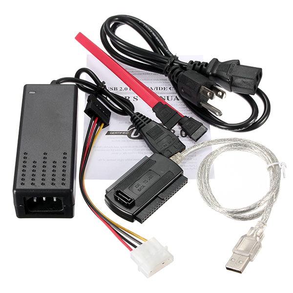 HD HDD Hard Drive Adapter Converter Cable USB 2.0 to IDE SATA 2.5 3.5 USA Plug,水晶USB易驱线 color