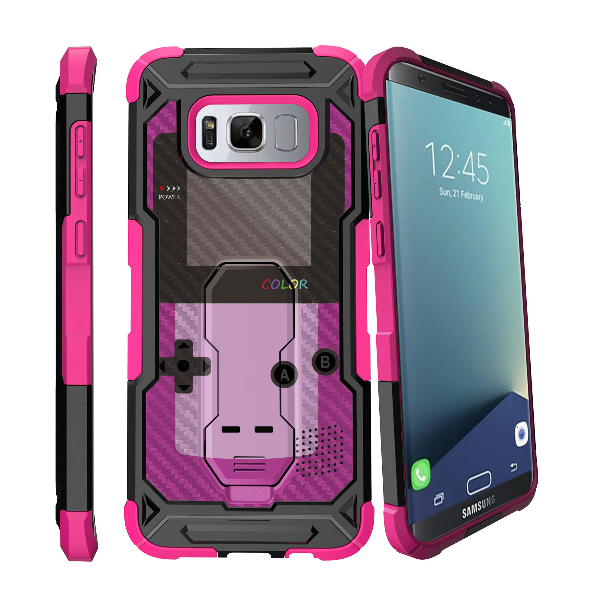 Case for Samsung Galaxy S8 Plus Version [ UFO Defense Case ][Galaxy S8 PLUS SM-G955][Pink Silicone] Carbon Fiber Texture Case with Holster + Stand Gaming Collection