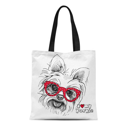 ASHLEIGH Canvas Tote Bag Red Yorkie Portrait of Dog Yorkshire Terrier Glasses Durable Reusable Shopping Shoulder Grocery Bag (Yorkshire Terrier Tote Bag)