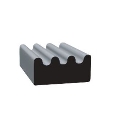 Clean Seal 113H2-50 Door Window Channel Seal  Ribbed Type; Mounts With Acrylic Based Adhesive; 3/8 Inch Width x 0.188 Inch Thickness x 50 Foot Length; Black/ EPDM (Ethylene Propylene Diene Monomer) - image 1 of 1