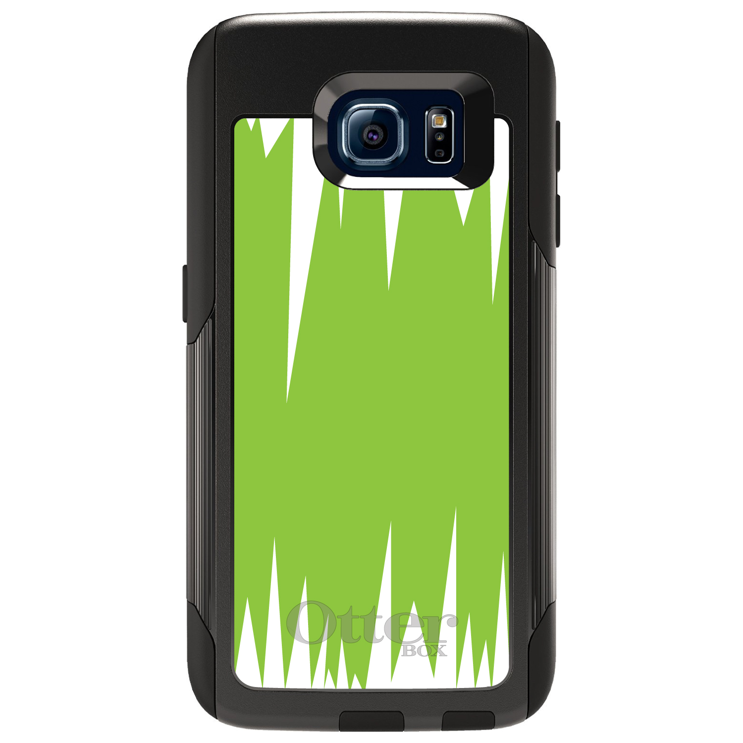 DistinctInk™ Custom Black OtterBox Commuter Series Case for Samsung Galaxy S6 - Lime Green White Spikes