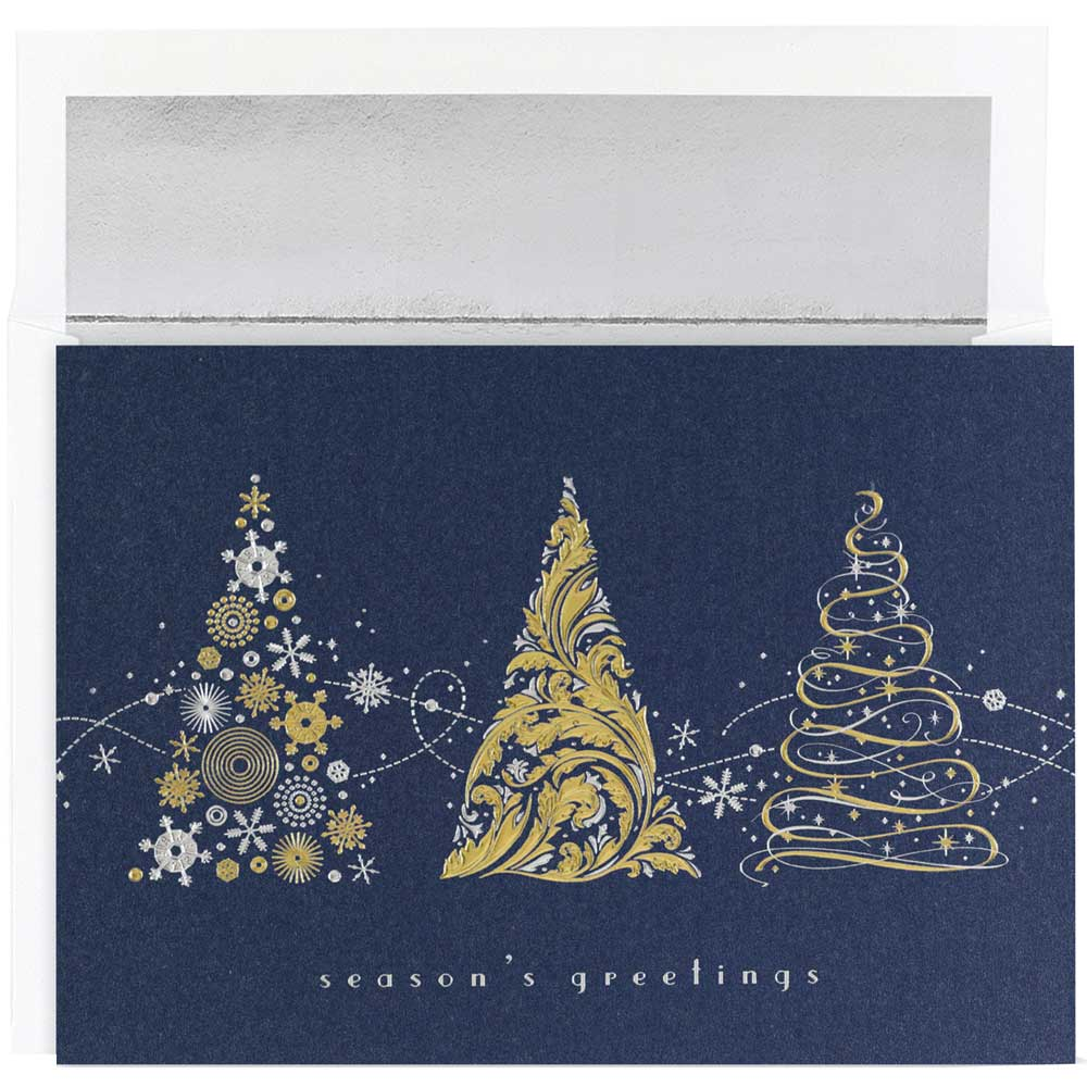 JAM Paper Christmas Card Set, Tree Meledy Christmas Cards, 16/pack