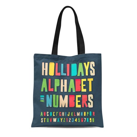 ASHLEIGH Canvas Tote Bag Holidays Alphabet and Numbers Colorful Craft Cut Out Reusable Shoulder Grocery Shopping Bags Handbag (Alphabet Cut Outs)