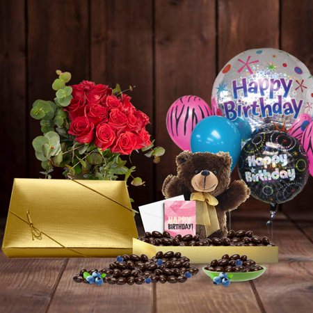 30th Birthday Gift Basket Plush Teddy Bear Premium California Vegan Chocolate Coated Blueberries 1 Lbs Personalized Handwritten Card