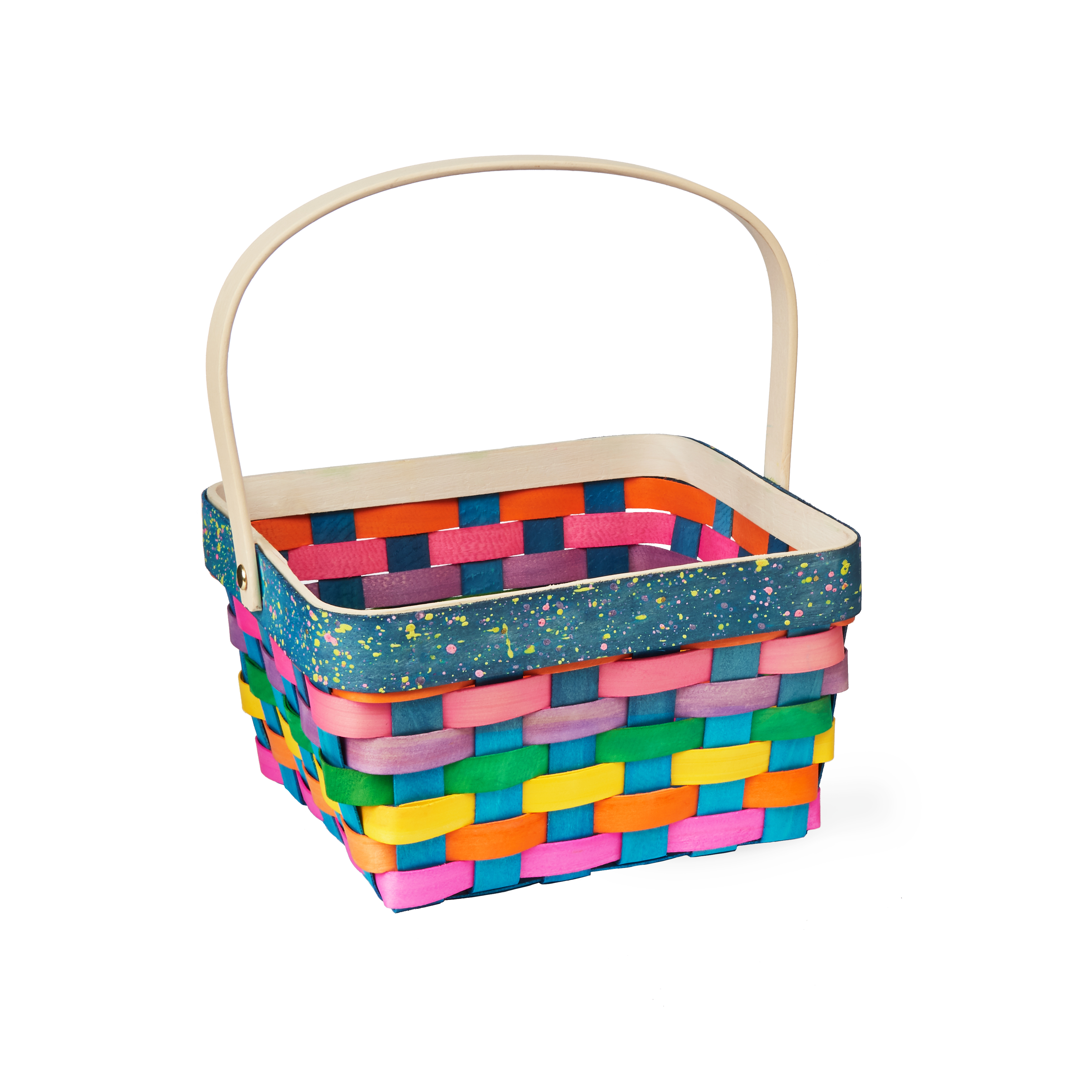 Way To Celebrate Easter Wooden Basket, Rainbow