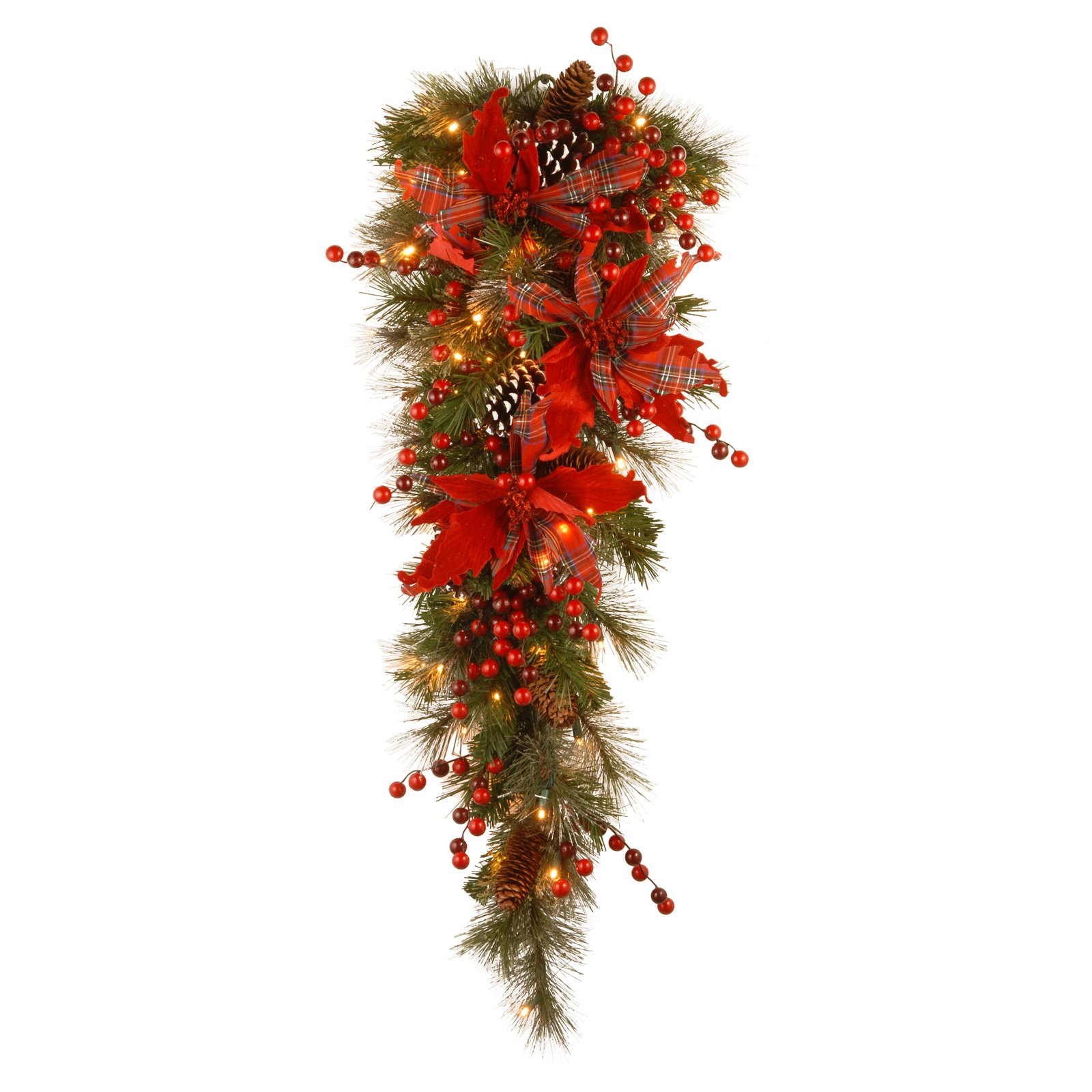 "National Tree 36"" Decorative Collection Tartan Plaid Teardrop with Cones, Red Berries, Poinsettias and 50 Warm White Battery Operated LEDs with Timer"