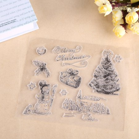 Christmas Snowman Tree Silicone Clear Stamp Scrapbook Album Home Decor Gift Card Kid Adult DIY, Christmas stamp decor, Scrapbook stamp