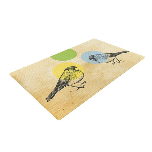 East Urban Home Sreetama Ray Paper Birds Green Area Rug