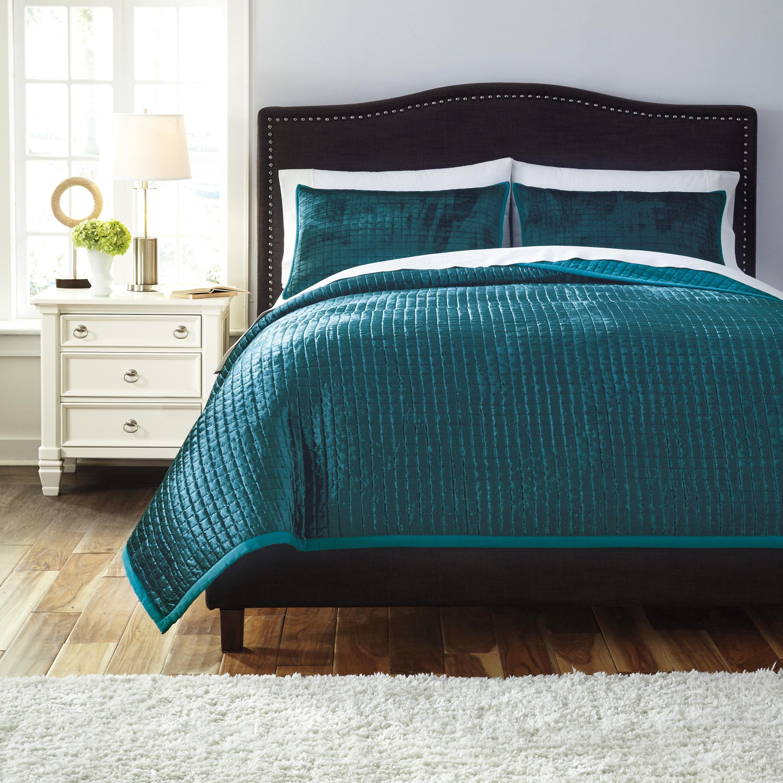 Stitched Comforter Set Color Peacock Size King Walmart Com