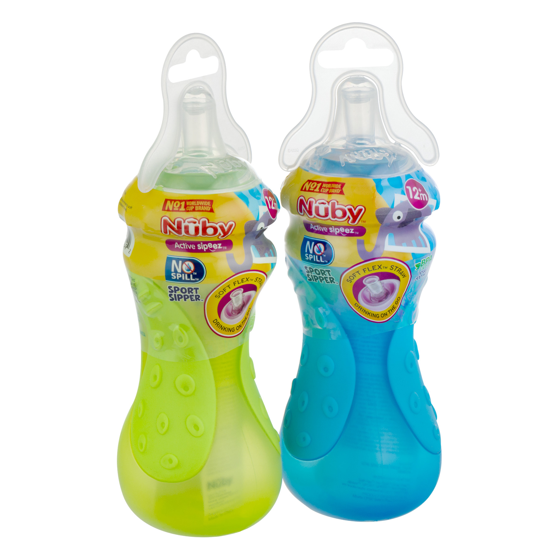 Sports Sipper Bottle: 2 Pack Nûby 10 Oz No-Spill Sport Sipper Cup Stage 12+m