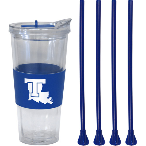 22oz NCAA Louisiana Tech Bulldogs Straw Tumbler with 4 Colored Replacement Propeller Straws