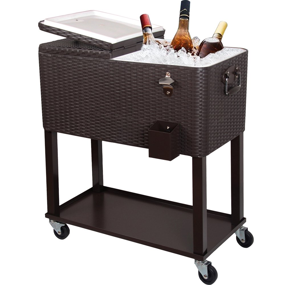 Zimtown 80 Quart Rattan Rolling Cooler Cart Ice Beer Beverage Chest on Wheels with Shelf