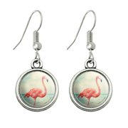 Flamingo on Beach Starfish Retro Novelty Dangling Drop Charm Earrings