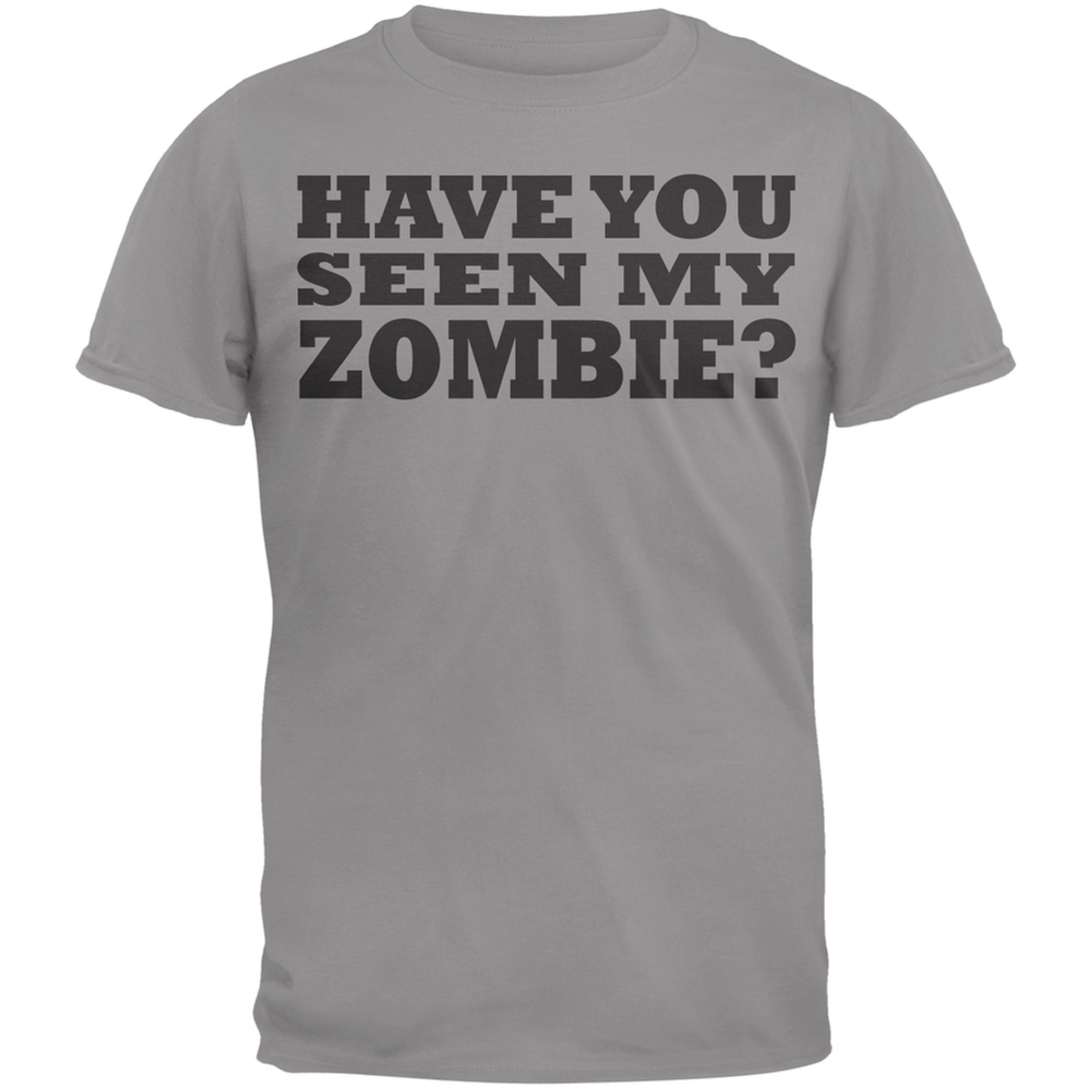 Have You Seen My Zombie Flip Up Grey Adult T-Shirt