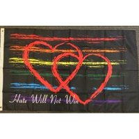 3x5 Hate Will Not Win Flag Hearts Rainbow Pride LBGT Lesbian Gay Bisexual Banner