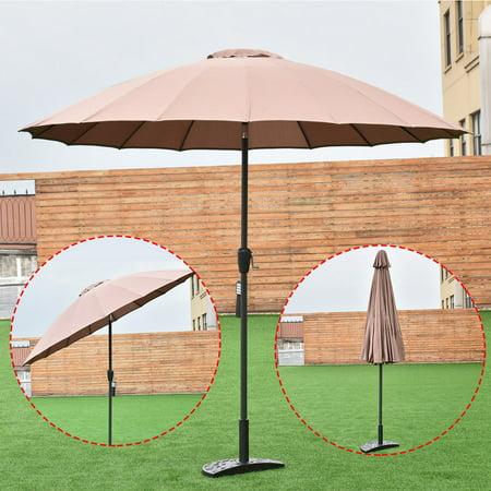Costway Outdoor 9ft Patio Umbrella Sunshade Cover Market Garden Cafe Crank Tilt Tan ()