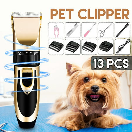 13Pcs/Set Professional Quiet Mute USB Charge Electric Trimmer Clipper Shaver Grooming Kit Set for Pet Cat Dog