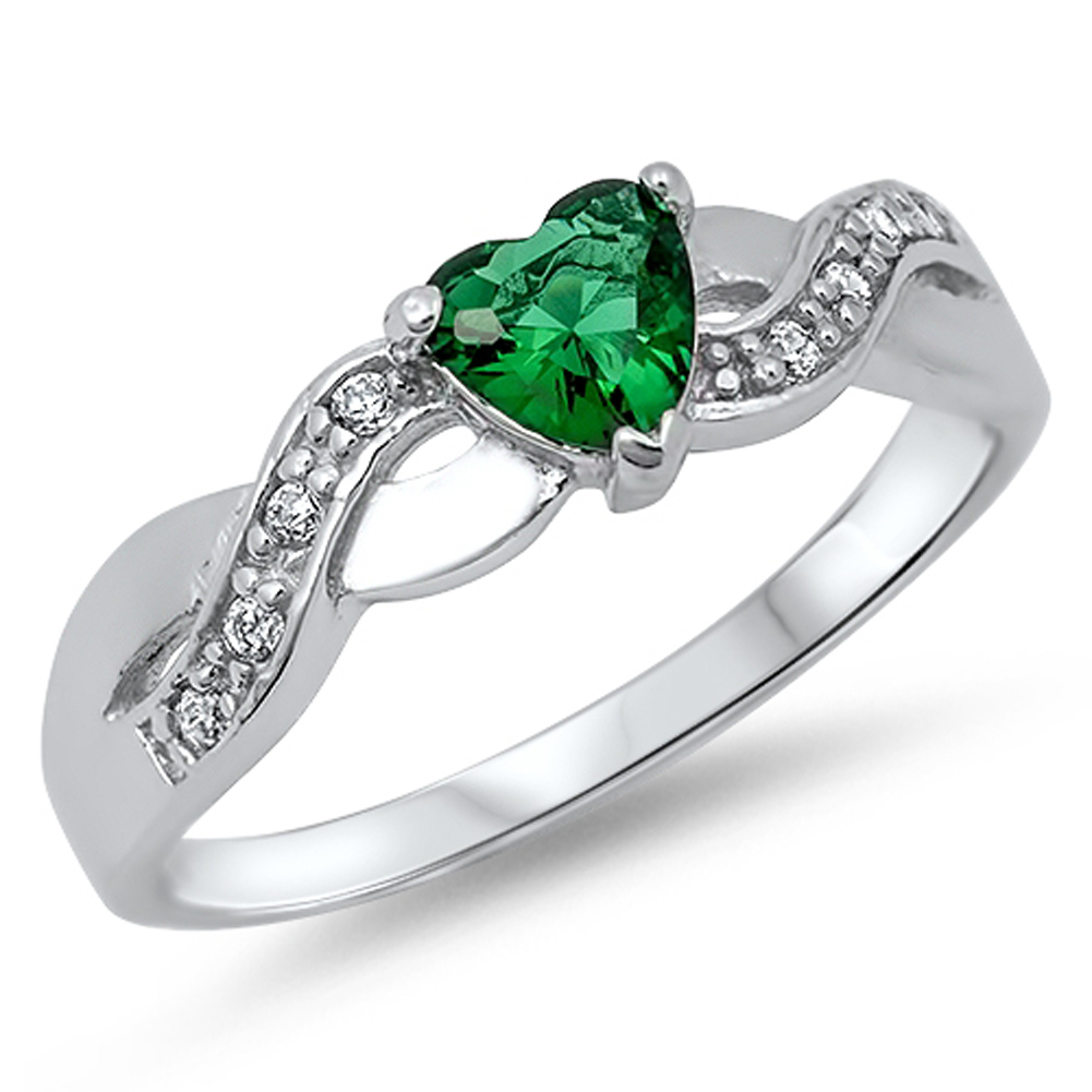 simulated emerald infinity knot promise ring sizes