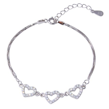 Clear Cubic Zirconia Three Hearts Double Box Chain Bracelet Rhodium Plated Sterling Silver ()