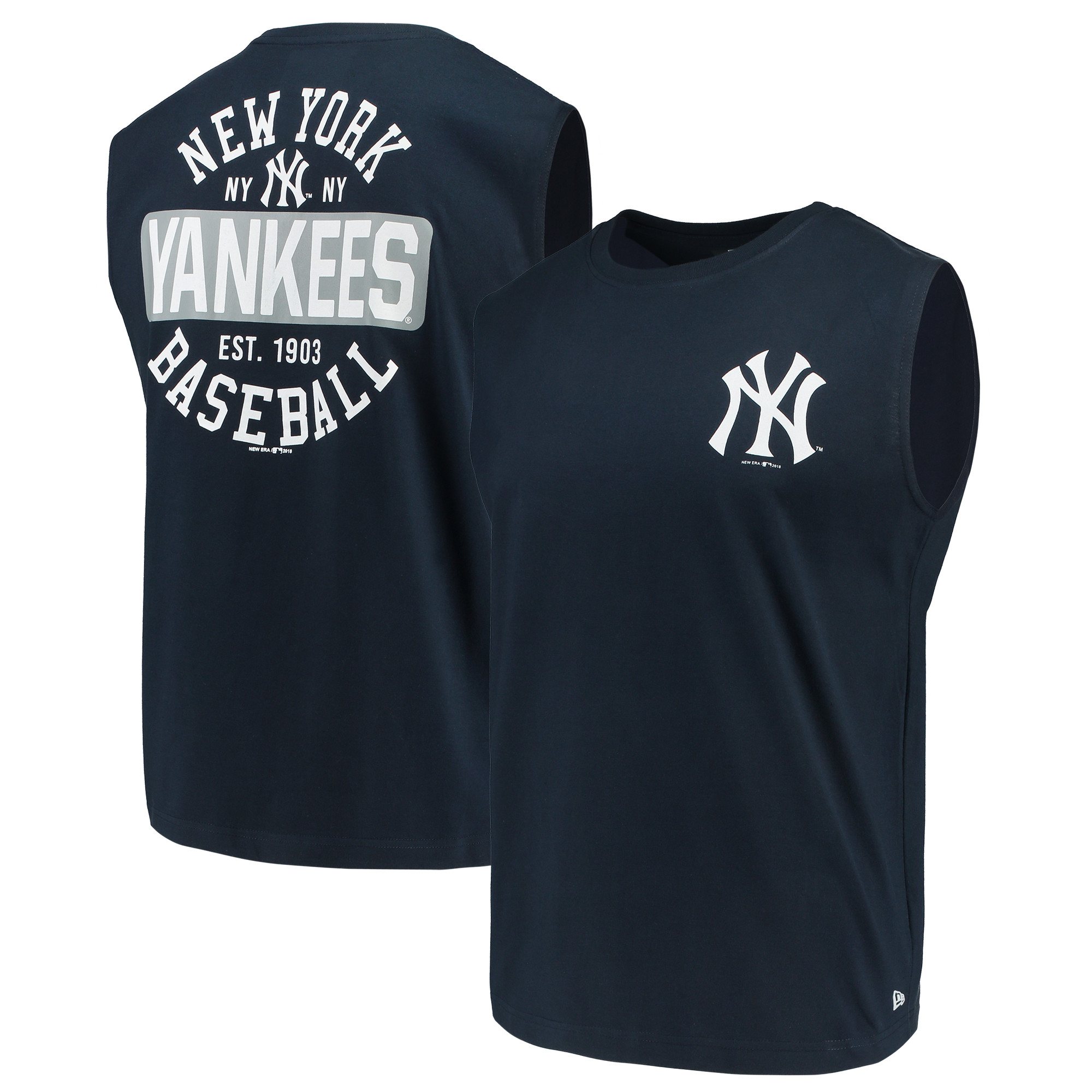 New York Yankees New Era Jersey Muscle T-Shirt - Navy