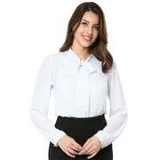 Women's Chiffon Dress Blouse with Bow Details White (Size L / 12)