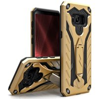Zizo STATIC Series compatible with Samsung Galaxy S8 Case Military Grade Drop Tested with Built In Kickstand GOLD BLACK