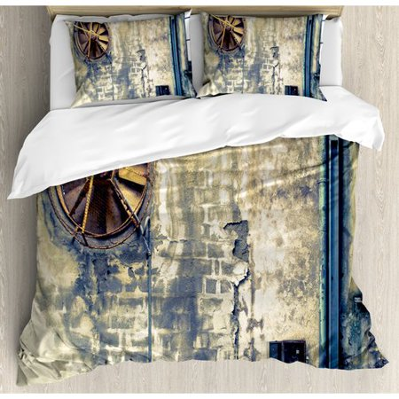 Vandalism Set (Ambesonne Industrial Damaged Wrecked Wall Image Destruction Vandalism Broken Deserted Workplace Duvet Cover Set)