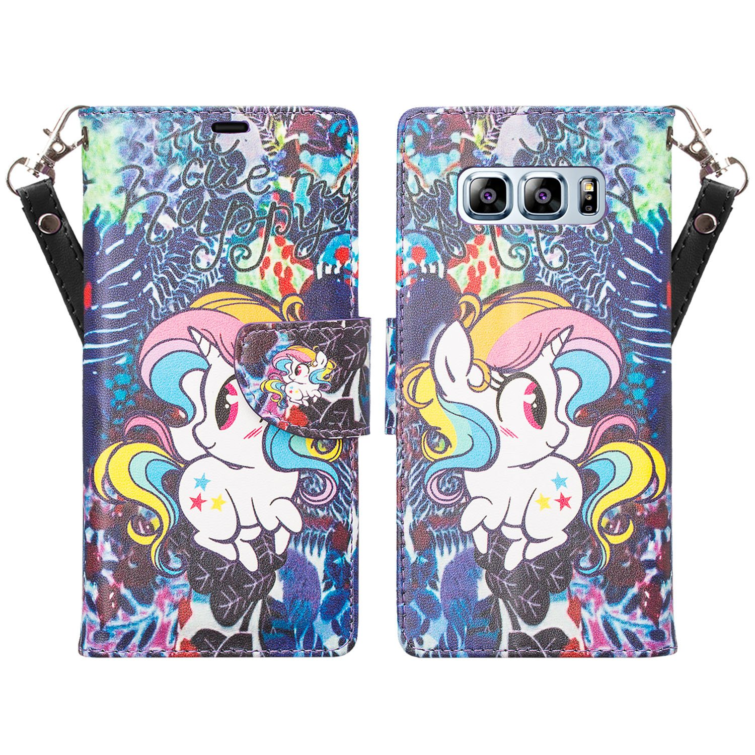 Samsung Galaxy Note 8 Case, Faux Leather Wrist Strap Kickstand Wallet Cover w/ Card Slots - Rainbow Unicorn