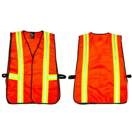 G & F Industrial Safety Vest with Reflective Strips, Neon Orange