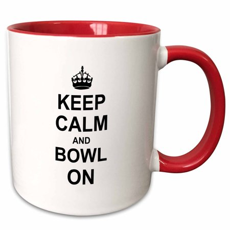 3dRose Keep Calm and Bowl on - carry on bowling - gift for bowlers - black white fun funny humor humorous - Two Tone Red Mug, 15-ounce