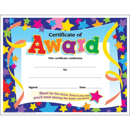 Trend, TEPT2951, Shoot for the Moon Award Certificate, 30 / Pack